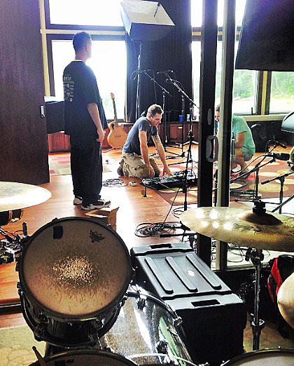 drum mics, patrick setting up live room for recording session